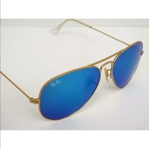 NEW Ray-Ban RB 3025 Aviator Gold Blue Flash 62mm